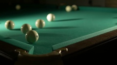 Russian billiards blow cue over the ball, unsuccessfully. Close-up Stock Footage