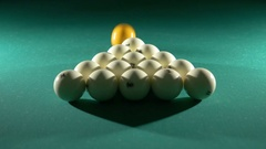 Russian billiards, the first blow, breaking the pyramid. Close-up Stock Footage