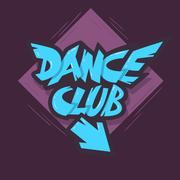Dance Club Graffiti Aesthetic Signboard Design With An Arrow For Stock Illustration
