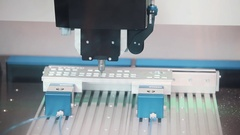 Precise automatic machine cut steel mold of keyboard at exhibition Stock Footage