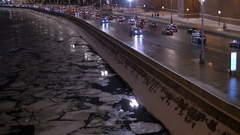 Timelapse. The movement of vehicles on the city's waterfront. In evening time Stock Footage