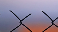 Footage fence of metal wire Stock Footage