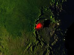 Rwanda in red from space at night Stock Illustration