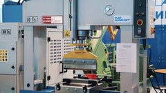 Industrial large cutter machinery on display at business innovation exhibition Stock Footage