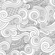 Abstract hand drawn outline wave curl seamless pattern in east asian style Stock Illustration