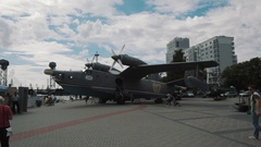 Soviet turboprop-powered amphibious aircraft Beriev Be-12 Chayka on waterfront Stock Footage