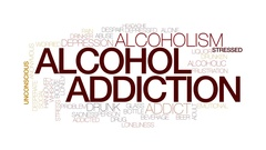 Alcohol addiction animated word cloud, text animation. Kinetic typography. Stock Footage