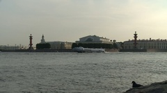 Petersburg. View of the Spit of Vasilyevsky Island from the Neva River Stock Footage