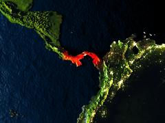 Panama in red from space at night Stock Illustration