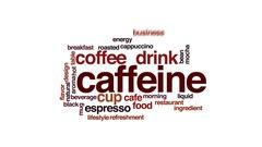 Caffeine animated word cloud, text design animation. Stock Footage
