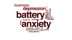 Battery anxiety animated word cloud, text design animation. Stock Footage