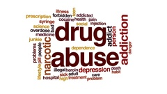 Drug abuse animated word cloud, text design animation. Stock Footage