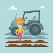 Farmer standing with tractor on background Stock Illustration