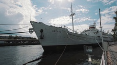 The research ship VITYAZ anchor in harbour in summertime on sunny day Stock Footage