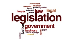 Legislation animated word cloud, text design animation. Stock Footage