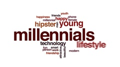 Millennials animated word cloud, text design animation. Stock Footage