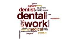 Dental work property animated word cloud, text design animation. Stock Footage