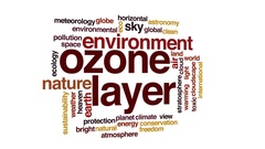Ozone layer animated word cloud, text design animation. Stock Footage