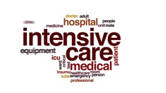 Intensive care animated word cloud, text design animation. Stock Footage