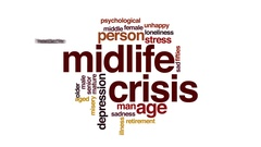 Midlife crisis animated word cloud, text design animation. Stock Footage