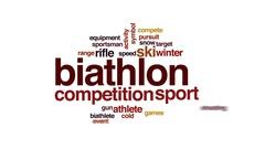 Biathlon animated word cloud, text design animation. Stock Footage