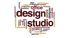 Design studio animated word cloud, text design animation. Stock Footage