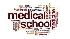 Medical school animated word cloud, text design animation. Stock Footage