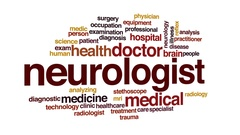 Neurologist animated word cloud, text design animation. Stock Footage