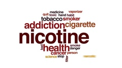 Nicotine animated word cloud, text design animation. Stock Footage
