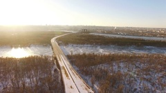 4K Aerial. Unfinished abandoned highway in city winter suburb. Urban landscape  Stock Footage