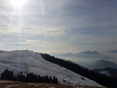 Landscape at the Monte Pora ski area in winter dry season. Orobie Alps Stock Footage