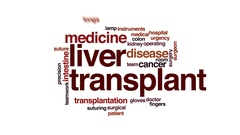 Liver transplant animated word cloud, text design animation. Stock Footage