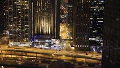 Chicago wacker drive night timelapse Stock Footage
