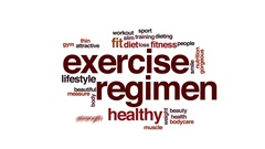 Exercise regimen animated word cloud, text design animation. Stock Footage