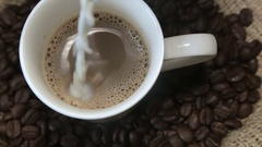 White milk in a cup of cappuccino Stock Footage
