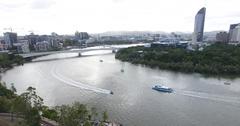Water activities on Brisbane river Stock Footage