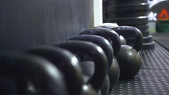 Training with kettlebells in gym Stock Footage