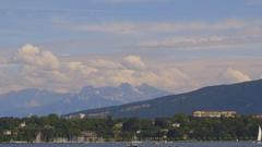 Lake Geneva in a beautiful sunny day Stock Footage
