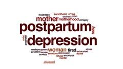 Postpartum depression animated word cloud, text design animation. Stock Footage