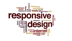 Responsive design animated word cloud, text design animation. Stock Footage