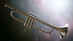 Brass trumpet on bokeh background with light Stock Footage