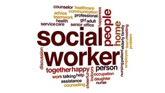 Social worker animated word cloud, text design animation. Stock Footage