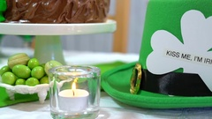 Happy St Patricks Day party table Stock Footage