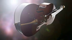 Violin or viola instrument turning on bokeh background with light Stock Footage