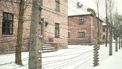 Steadicam walk along barbed wire fence of Auschwitz Birkenau concentration camp Stock Footage