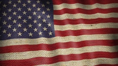 Burlap Flag of United States. Stock Footage