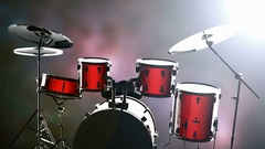 Drum set on bokeh background with light Stock Footage