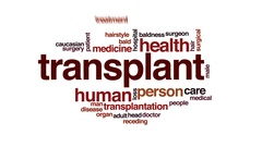 Transplant animated word cloud, text design animation. Stock Footage