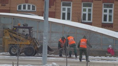 Kazan, Russia 2 december 2016, Public janitors cleaning street, snow winter Stock Footage