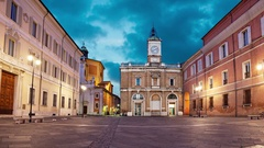 Piazza del Popolo in the evening, Ravenna Stock Footage